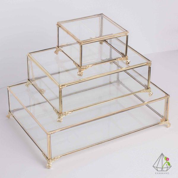 جعبه جواهرات، جعیه جواهرات شیشه ای، جعبه شیشه ای، جعبه لوکس،ظروف تراریوم، فروشگاه اینترنتی کمند